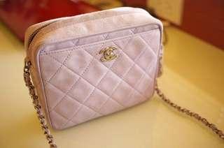 Vintage Chanel粉紫色麂皮銀扣mini camera bag 16x15cm