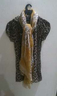 Atasan Dress OOFY ITALY Leopard (not including the scarves)