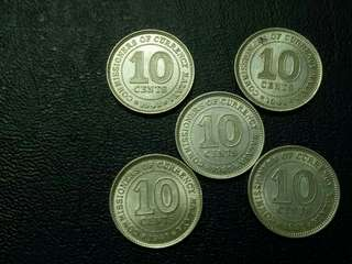 ↔↔ Lot Of 5pcs Malaya KinG George Vi 10cent Silver. 1939 and 1941.