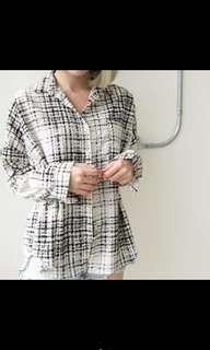 🚚 daisydays蠟筆線條格紋襯衫