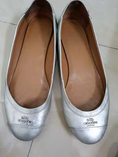 Coach authentic silver flats size 6.5