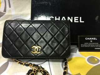 Vintage Chanel黑色羊皮菱格金扣flap bag 20x12x5cm