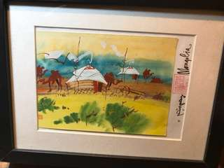 Authentic Mongolian water colour painting on a card framed on ikea ribba - condition 10/10