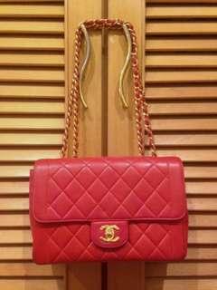 Vintage Chanel紅色羊皮金扣2.55 classic flap 23cm