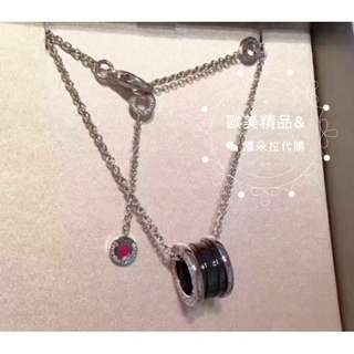 BVLGARI寶格麗經典純銀黑陶瓷項鍊