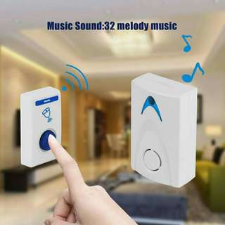 LED Wireless Chime Door Bell Doorbell & Wireless Remote control 32 Tune Songs