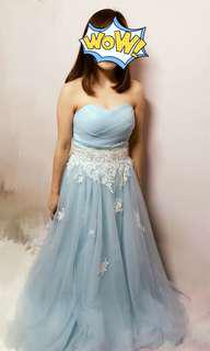 Evening gown low cut lace  湖水藍色 晚裝裙