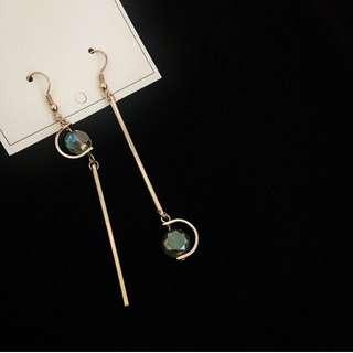 金屬水晶不對稱耳環