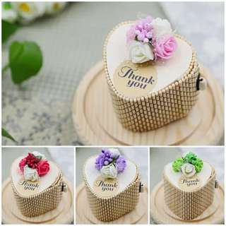Flower Decorated Bamboo Heart Favor Box