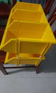 6 X Yellow Plastic Stackable Container
