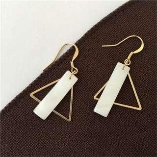 Minimalist Geometric Triangle and Rectangle Shell Earrings