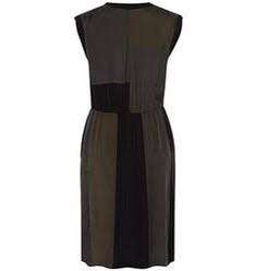 David Lawrence dress military pitched khaki black green dress knee length size 8
