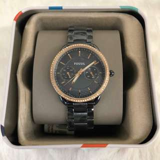Authentic Fossil Watch (Black Metal Strap)