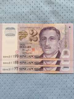 Singapore Polymer $2 UNC Condition: 77-88-99