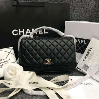 Chanel Quilted Flap Top Handle Bag in Lambskin 25cm