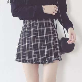 Reasy Stock Slim Checkered Skirt