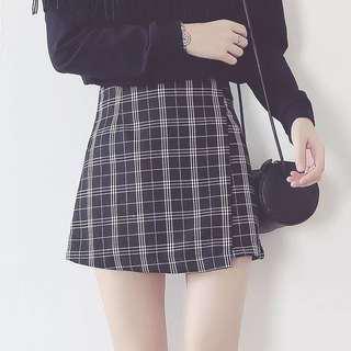Reasy Stock Slim Checkered Skirt