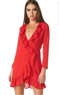Lioness Tuscan Ruffle Dress red Size S Au 8