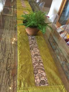Ethnic Table Runner green Thai silk