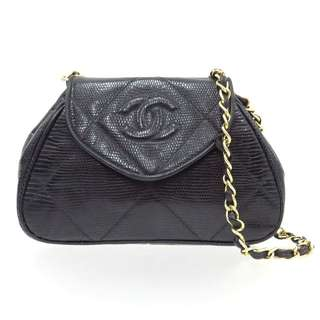 Vintage Chanel黑色蜥蜴皮元寶形mini chain bag 19x13x4.5cm