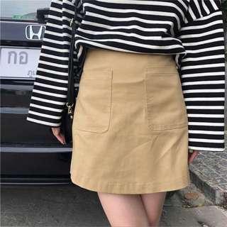 Khaki A Line Skirt