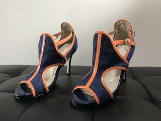 Open Toed Color Block Heels (6.5)