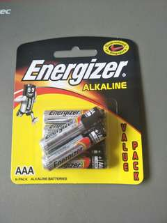 AAA size battery 1.5V 6 per pack.