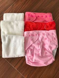 Plains Washable Cloth Diaper 3 diapers + 3 inserts