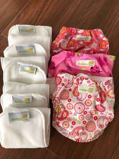 Pink Bamboo Dappy Washable Diaper 3 bamboo diapers + 5 organic inserts