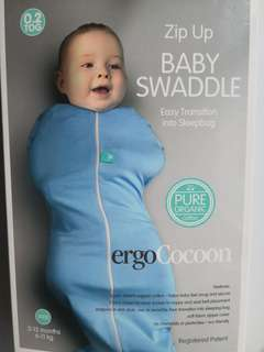Preloved ERGOPOUCH Ergo Cocoon Zip Up Light Blue Baby Swaddle / Sleeping Bag - in perfect condition