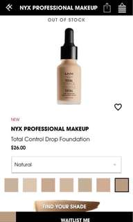 🚚 Nyx Total Control Drop Foundation in Natural