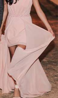 Blush Pink Flowy Dress/Gown
