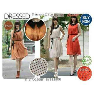 SALE!! DOTTY CHIFFON DRESS (Casual Terusan Midi