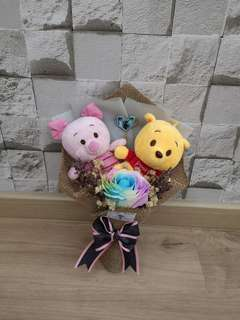 Piglet and Winnie rainbow rose bouquet