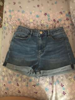 Stradivarius High Waisted Dark Washed Denim Shorts