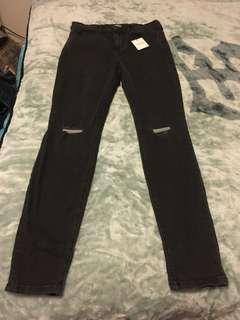 Bnwt Fashion Nova high waisted Black Jeans With Distressed Knees Size 9