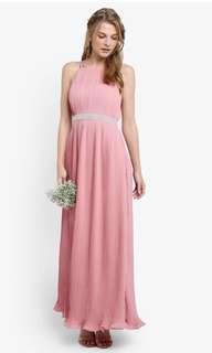 Zalora Pleated Maxi Dress with Embellished Waistband