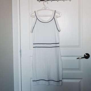 White fitted halter dress