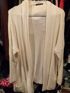 Brandy Melville ivory knitted open front cardigan