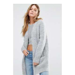 Jack Wills Grey Mohair Wool Chunky Knit Cardigan Small/Medium RRP$229