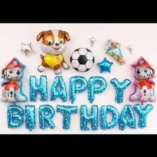 🦄 [Instock] Happy Birthday Party Decor Balloon Set - Paw Patrol (Marshall / Chase / Rubble)