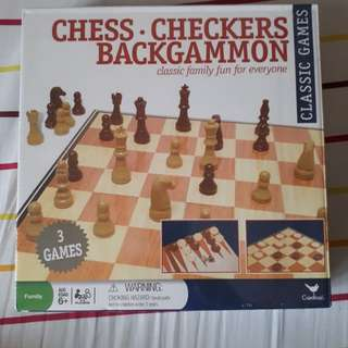 Chess + Checkers + Backgammon (3-in-1 set, sealed)