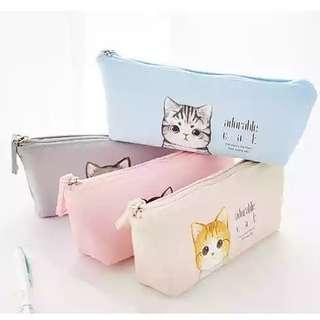 全新可愛簡約風貓貓筆袋/化妝袋