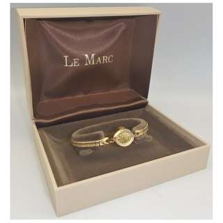 60's Swiss Le Marc 17J Gold Tone 上鍊女裝手錶 w/Box