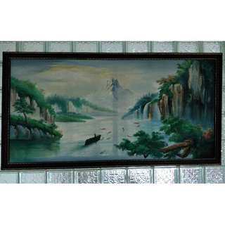 Mountain & Lake Painting. Size: 850mm x 1610mm
