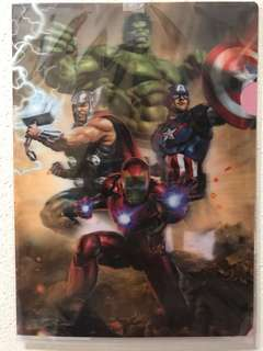 A4 size file with 3D Marvel Avengers heroes
