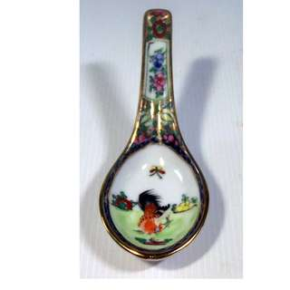 Antique Chinese Famille Rose porcelain spoons fighting cockerial mid 1900s