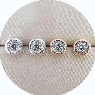 20分一對大過1卡效果鑽石18k白金玫瑰金耳環💎女朋友生日禮物推薦🎁經典Tiffany泡泡款