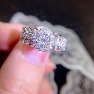 50分1.5卡效果鑽石18k白金蕾絲華麗風格戒指💎珍藏細節生日禮物女朋友結婚戒指