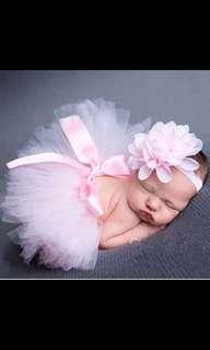 Newborn Baby Girls Tutu Skirt Headband Set Flower Hairband Infant Pettiskirt Princess Lace Clothing Photography Props